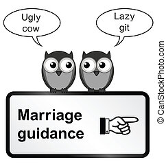 Marriage Problems - Monochrome comical marriage guidance...