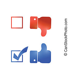 thumbs up check mark tick illustration design over a white...
