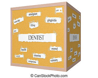 Dentist 3D cube Corkboard Word Concept with great terms such...