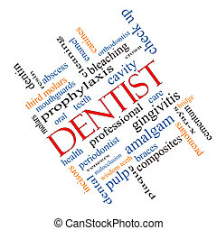 Dentist Word Cloud Concept Angled