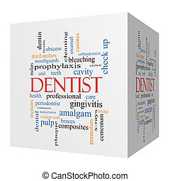Dentist 3D cube Word Cloud Concept with great terms such as...