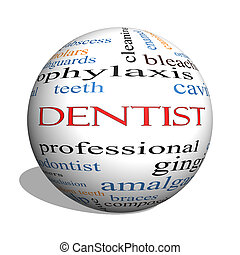 Dentist 3D sphere Word Cloud Concept with great terms such...