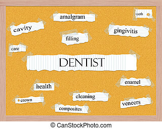 Dentist Corkboard Word Concept with great terms such as...