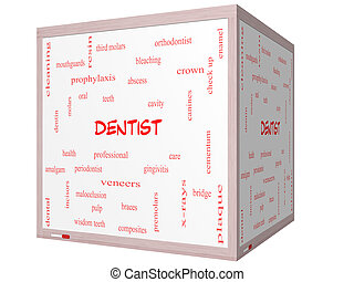 Dentist Word Cloud Concept on a 3D cube Whiteboard