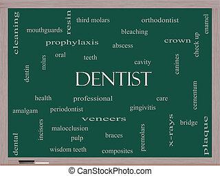 odontólogo, palavra, nuvem, conceito, quadro-negro