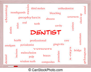 Dentist Word Cloud Concept on a Whiteboard with great terms...