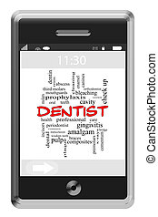Dentist Word Cloud Concept on a Touchscreen Phone with great...