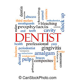 Dentist Word Cloud Concept with great terms such as cavity,...