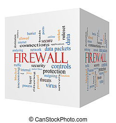 Firewall 3D cube Word Cloud Concept with great terms such as...