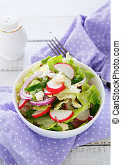 spring salad with radishes, food closeup
