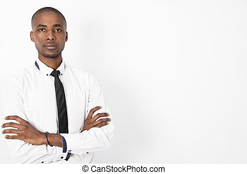 Young Corporate Business Man folding his arms - Young...