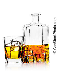 Glass of whiskey with ice and decanter isolated on white...