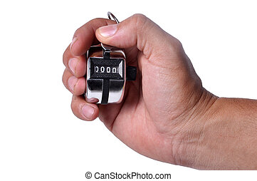 Hand held tally counter isolated on white background.
