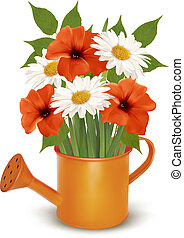 Summer flowers in a watering can Vector