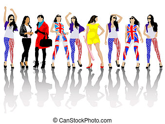 British and american flag - Woman of dress colors of British...