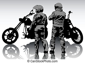 Couple bikers in suit - Silhouettes of motorcyclists...