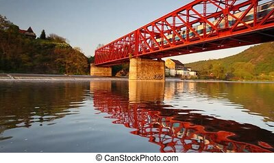 The speed train on the iron bridge - The speed train on the...