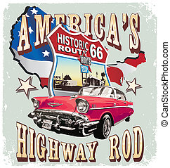 Americas Classic car - vintage car vector for T-shirt...