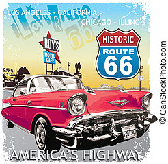 route 66 Classic car - vintage car vector for T-shirt...