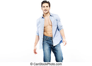Handsome man with very muscular body - Handsome guy with...