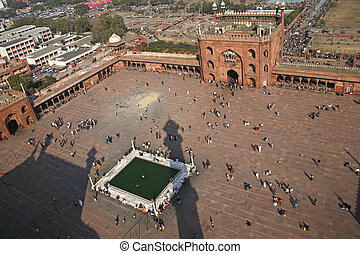 Jama Masjid - View from minaret tower at Jama Masjid, Delhi,...