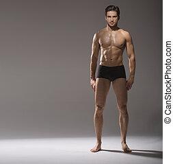 tipo, postura, calma,  muscular, guapo