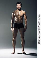 retrato, tipo,  muscular, guapo