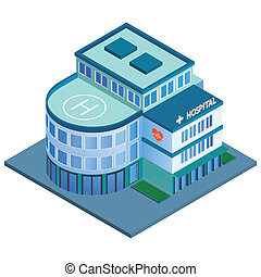 Hospital building isometric - Modern 3d urban hospital...