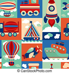 Transport toy seamless pattern - Toy transport cartoon...