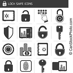 Lock Safe Icon Set - Business banking finance lock safe...