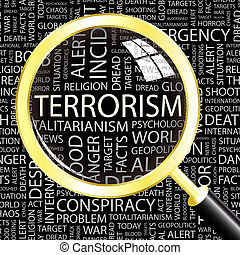 TERRORISM. Word cloud concept illustration. Wordcloud...