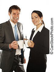 business couple - young business couple standing on white...