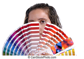 palette - Photo of a young woman holding a color guide,...