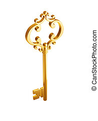 golden Skeleton Key isolated on white background