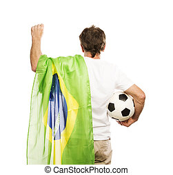 Senior male soccer fan - Brazilian senior soccer fan holding...