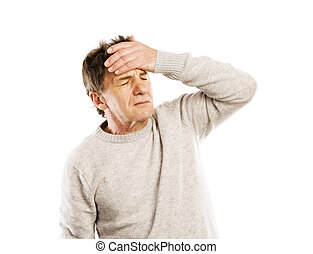 Senior man has headache, isolated on white background