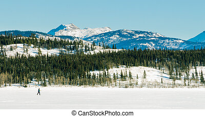X-Country Skier frozen Lake Laberge winter scenery - Active...