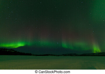 Nightsky Aurora borealis frozen Lake Laberge Yukon - Green...