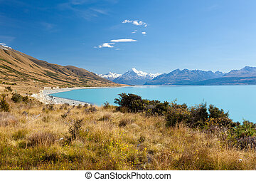 Silty glacier Lake Pukaki Aoraki Mt Cook NP NZ - Mighty...