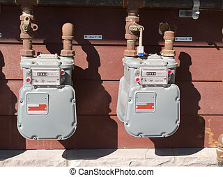 Exterior wall natural gas consumption meters - Two...
