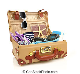 Ready to travel open suitcase with summer equipment isolated...