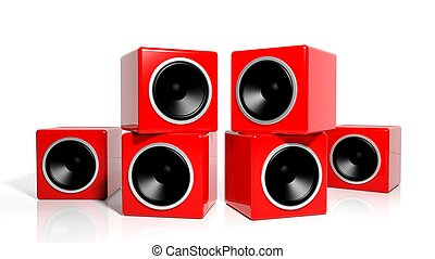 Group of red cubes computer speakers isolated on white