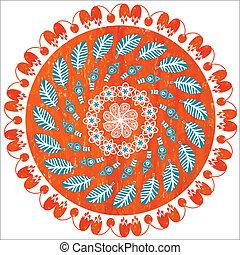 Round floral grunge decorative pattern, vector