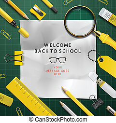 Back to school template with school's supplies