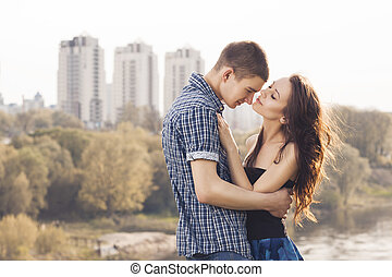 Beautiful young couple embracing