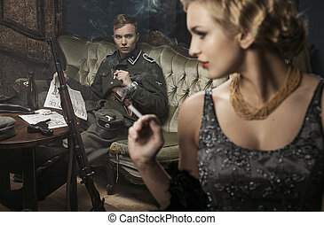 Smoking german soldier with his lovely wife - Smoking blonde...