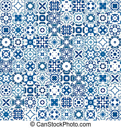Portuguese tiles - Seamless pattern illustration in blue and...