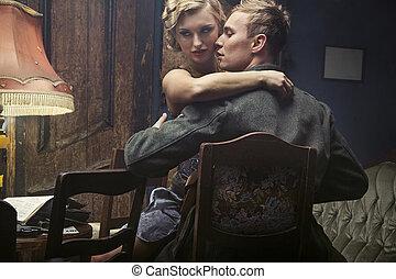 Attractive young woman seduces german soldier - Attractive...