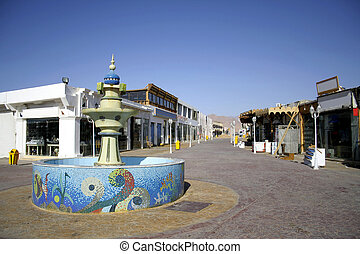 dahab - mosaic fountain on central market street in dahab,...