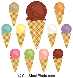 Ice cream cones - A selection of ice cream cone flavors.